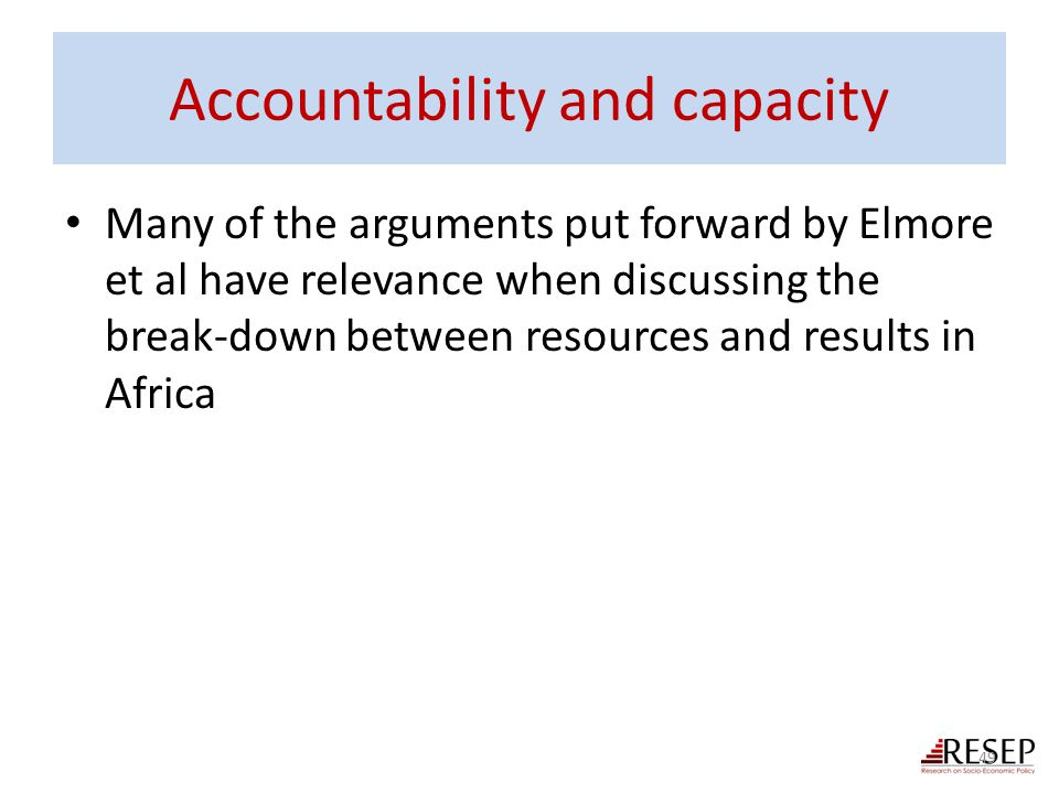 Accountability and capacity