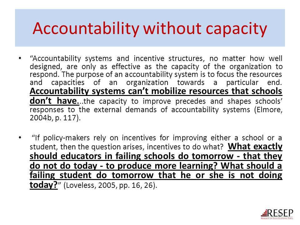 Accountability without capacity