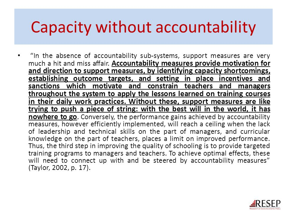 Capacity without accountability