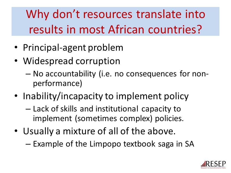 Why don't resources translate into results in most African countries