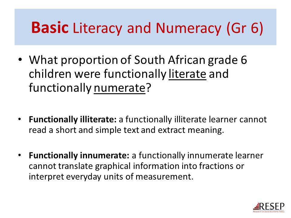 Basic Literacy and Numeracy (Gr 6)