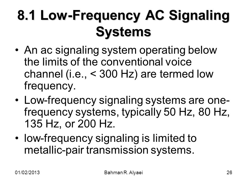8.1 Low-Frequency AC Signaling Systems