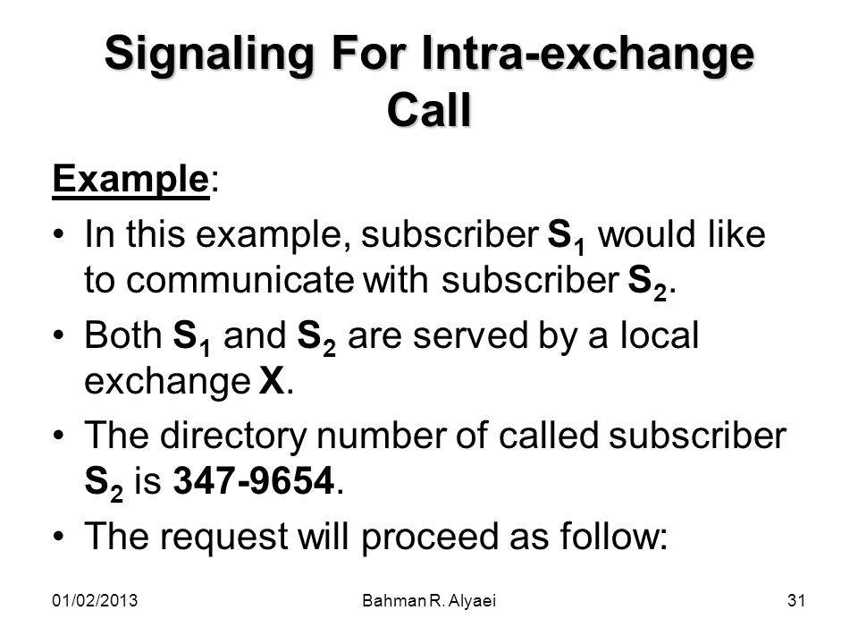 Signaling For Intra-exchange Call