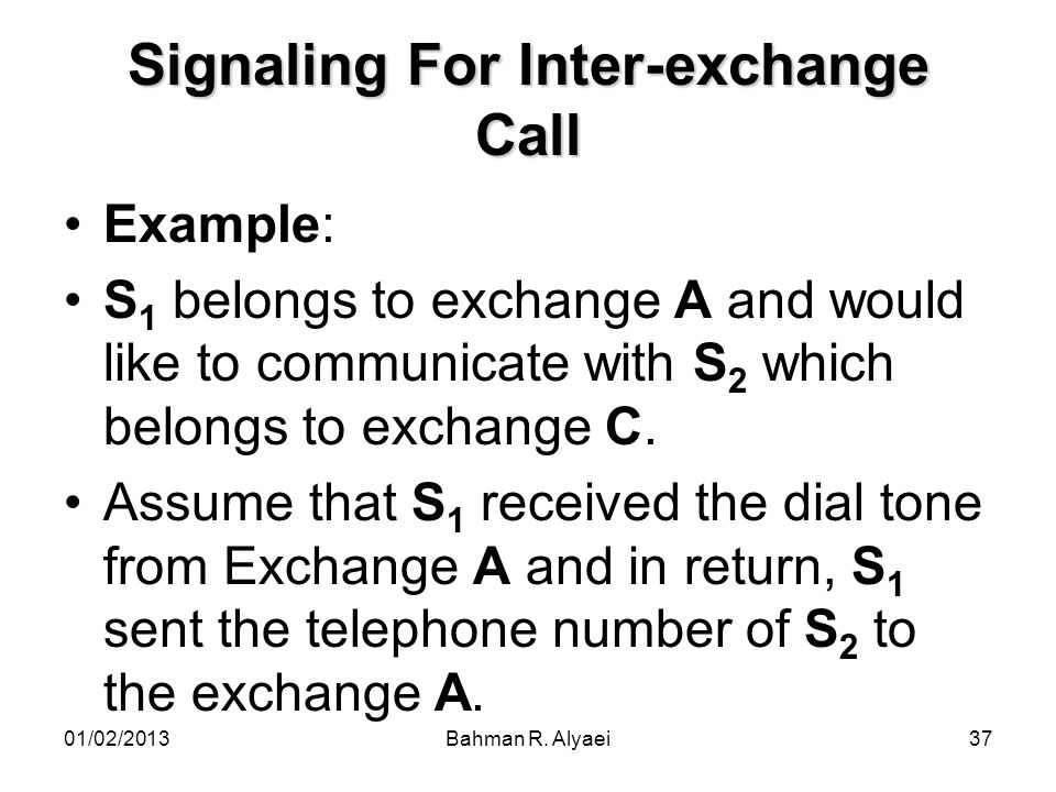 Signaling For Inter-exchange Call