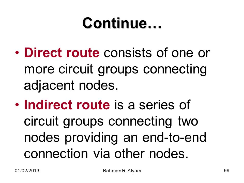 Continue… Direct route consists of one or more circuit groups connecting adjacent nodes.