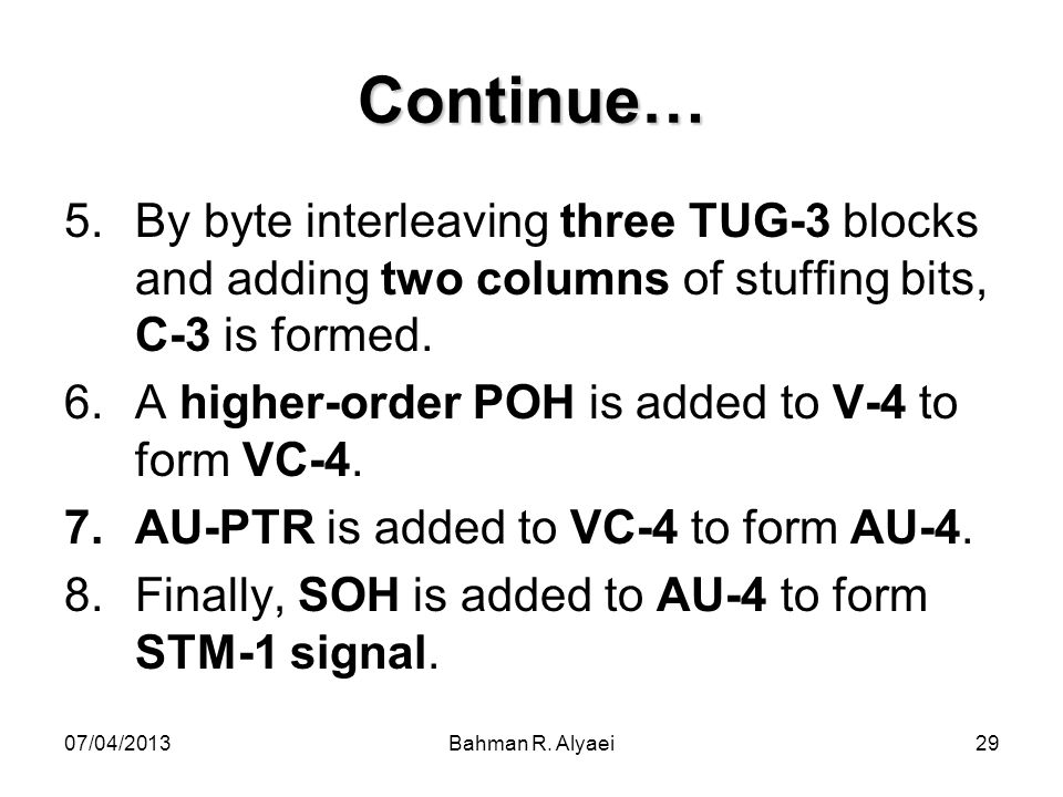 Continue… By byte interleaving three TUG-3 blocks and adding two columns of stuffing bits, C-3 is formed.