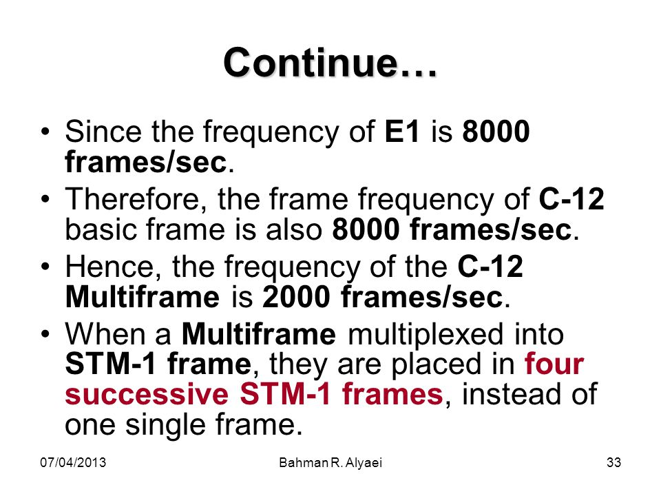 Continue… Since the frequency of E1 is 8000 frames/sec.