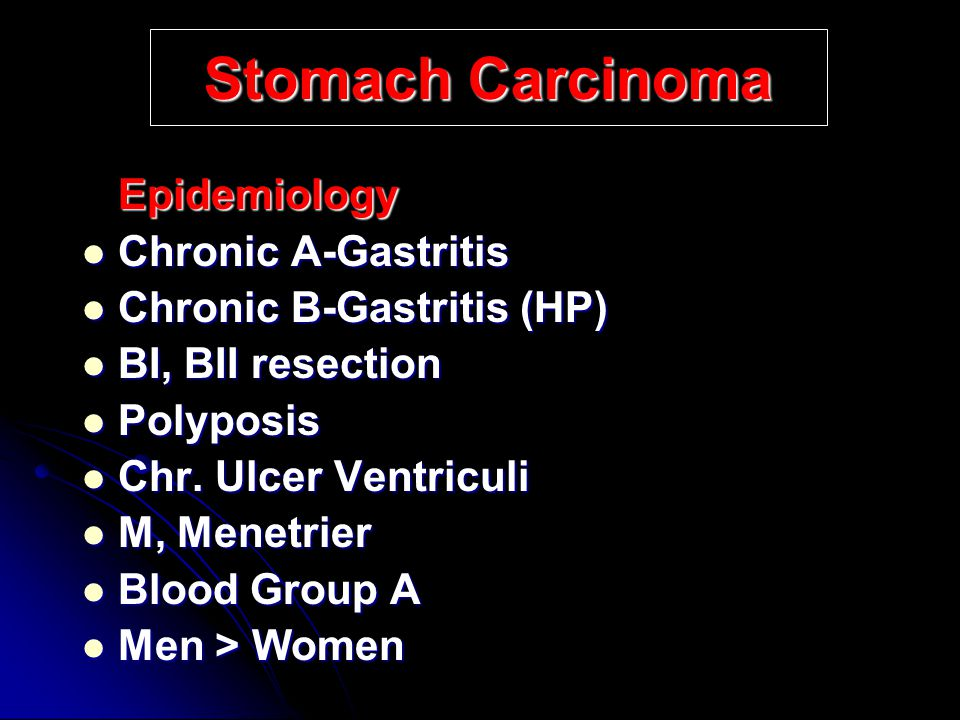 Stomach Carcinoma Epidemiology Chronic A-Gastritis