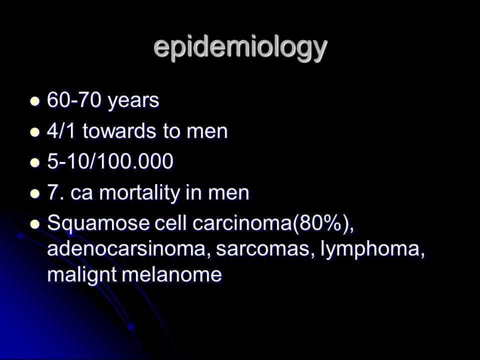 epidemiology 60-70 years 4/1 towards to men 5-10/100.000