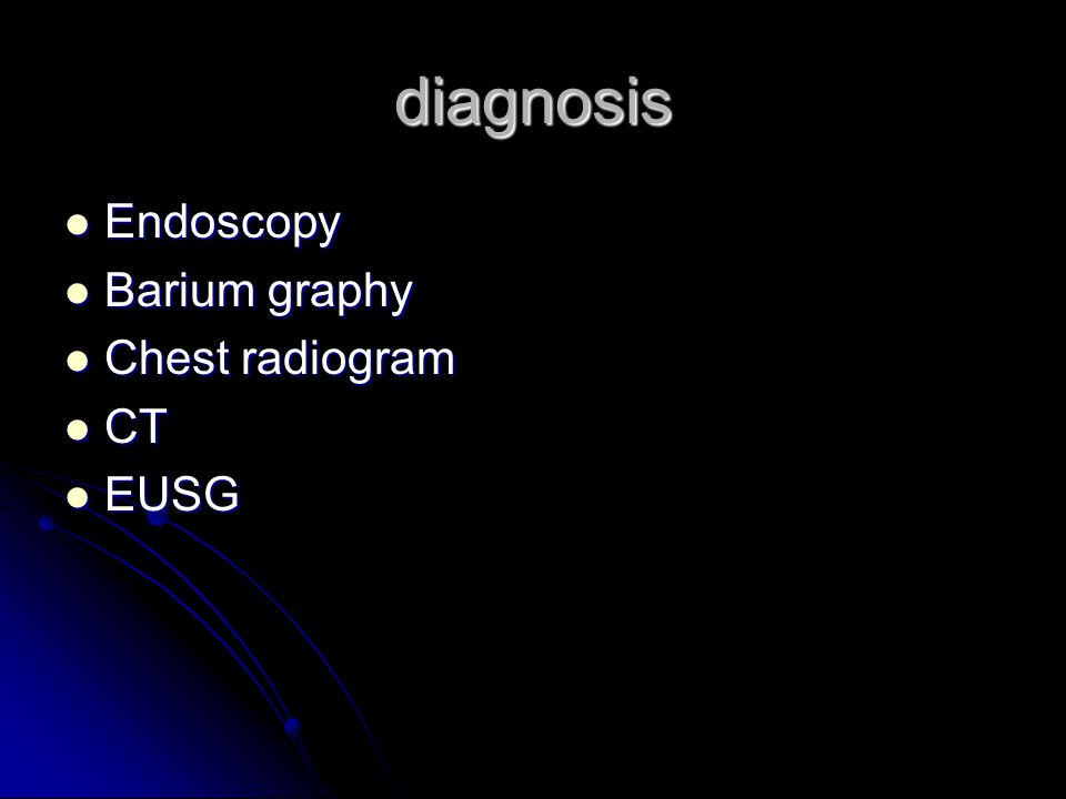 diagnosis Endoscopy Barium graphy Chest radiogram CT EUSG