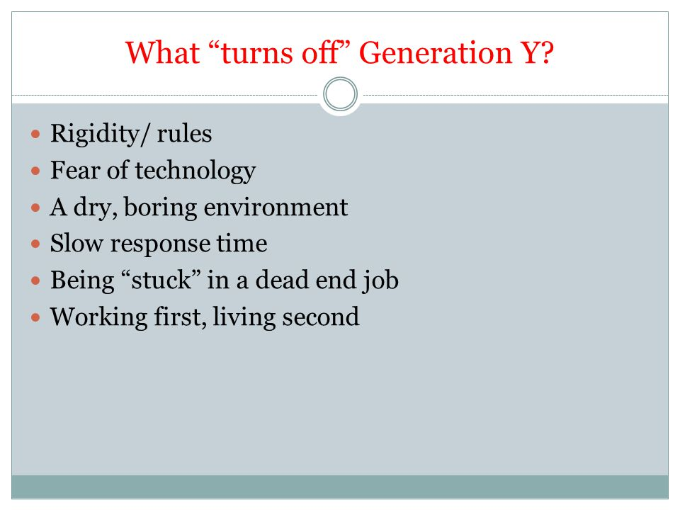 What turns off Generation Y
