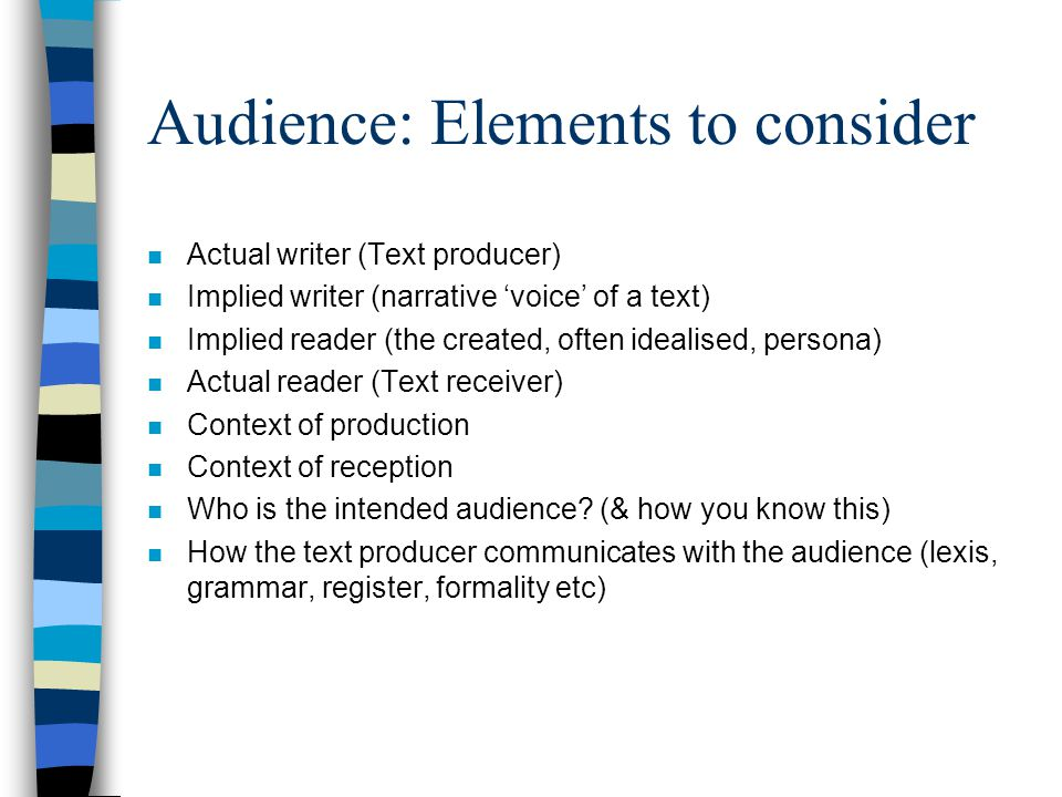 Audience: Elements to consider