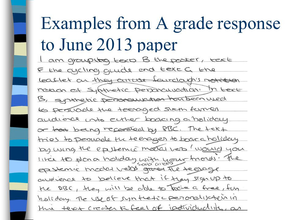 Examples from A grade response to June 2013 paper