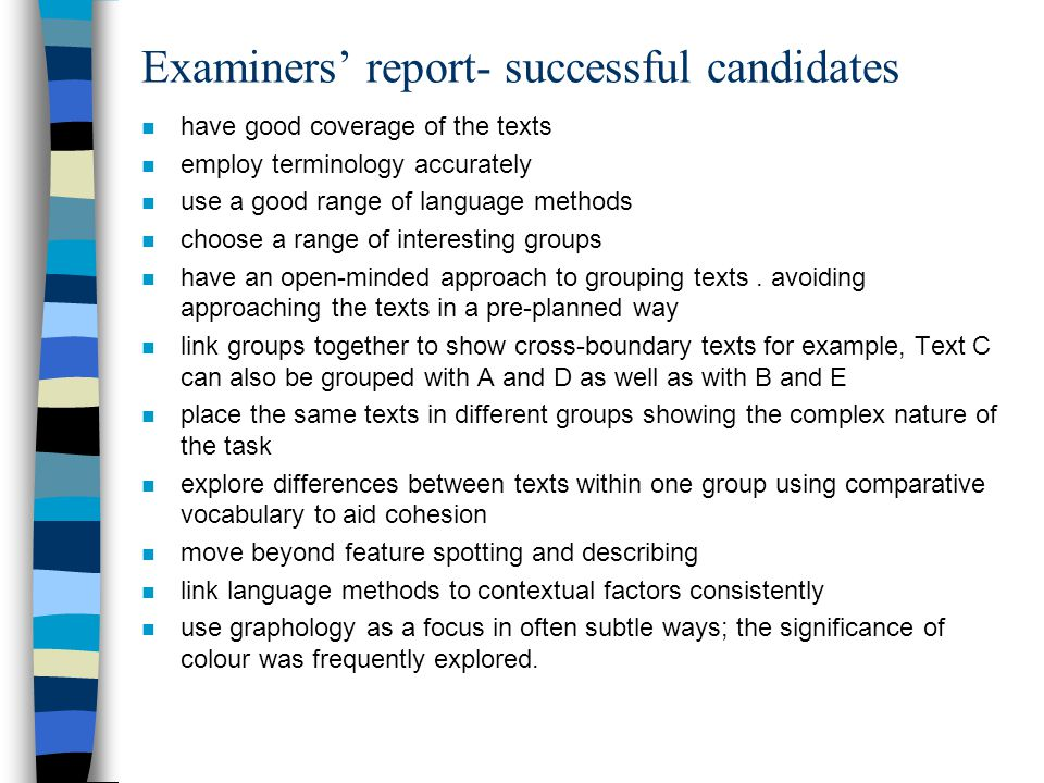Examiners' report- successful candidates