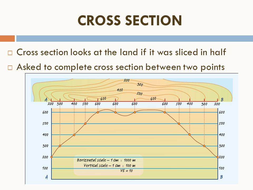 CROSS SECTION Cross section looks at the land if it was sliced in half