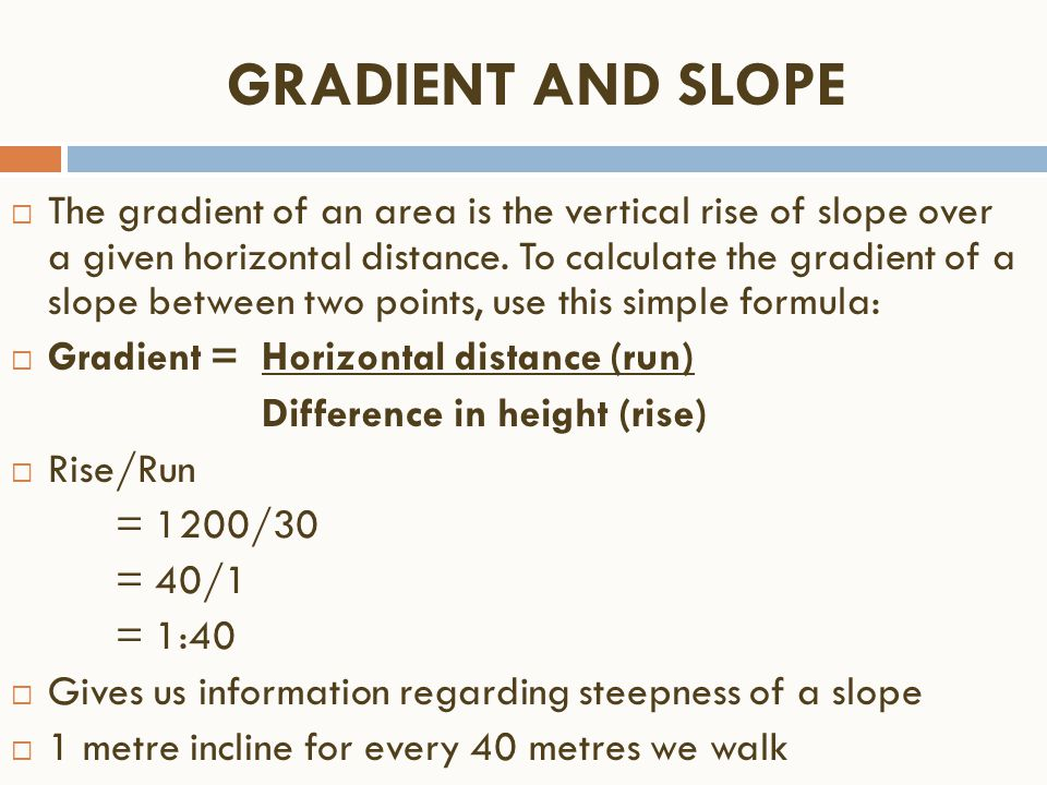 GRADIENT AND SLOPE