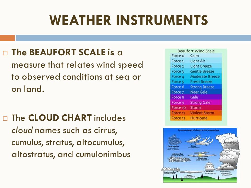 WEATHER INSTRUMENTS The BEAUFORT SCALE is a measure that relates wind speed to observed conditions at sea or on land.