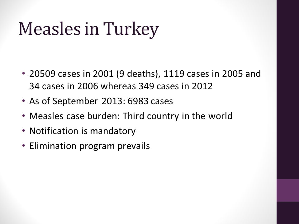 Measles in Turkey 20509 cases in 2001 (9 deaths), 1119 cases in 2005 and 34 cases in 2006 whereas 349 cases in 2012.