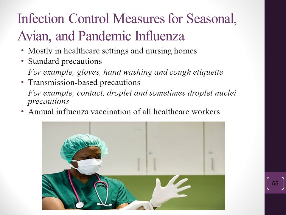 Infection Control Measures for Seasonal, Avian, and Pandemic Influenza