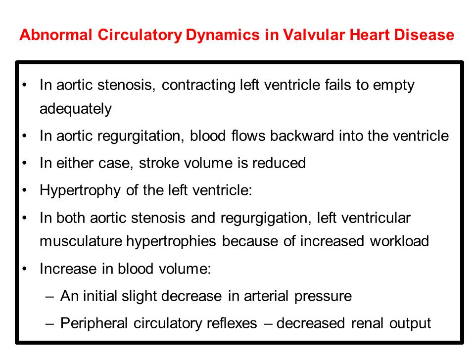 Abnormal Circulatory Dynamics in Valvular Heart Disease