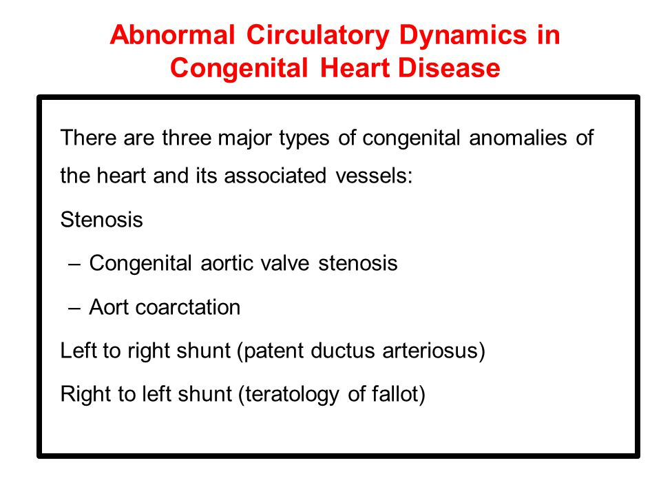 Abnormal Circulatory Dynamics in Congenital Heart Disease