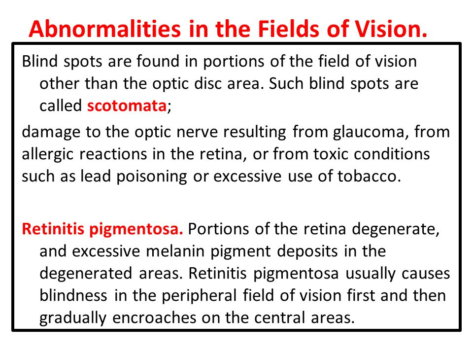 Abnormalities in the Fields of Vision.