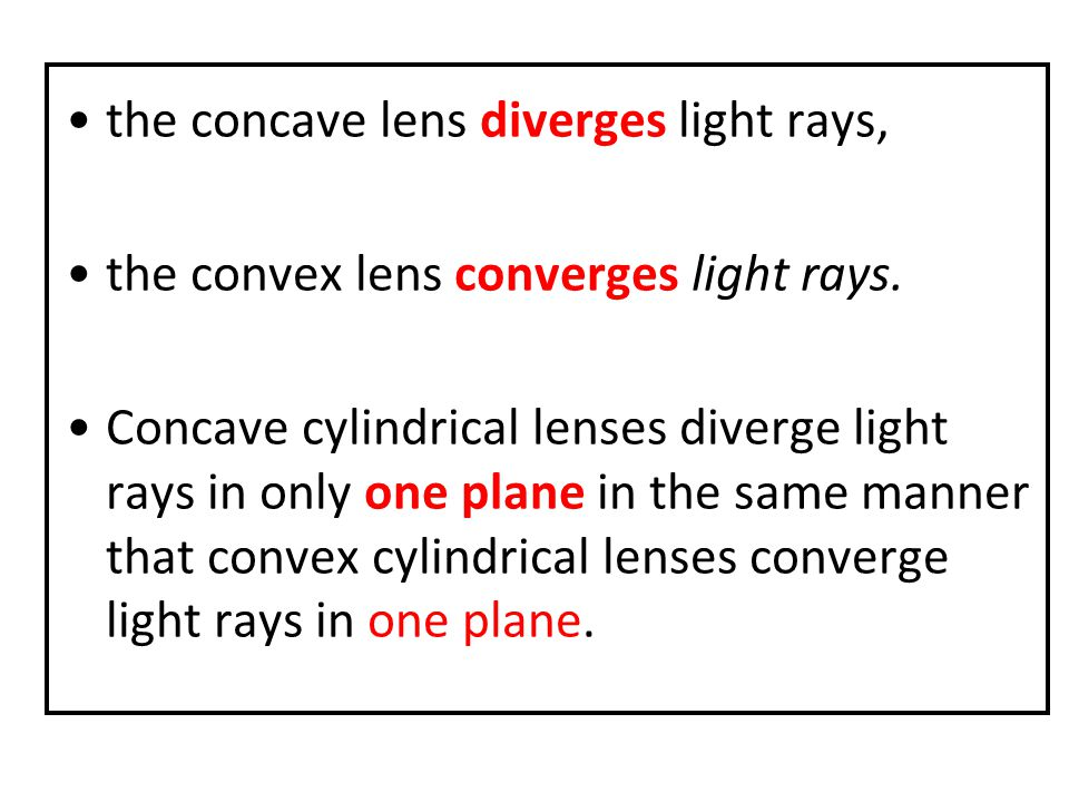 the concave lens diverges light rays,