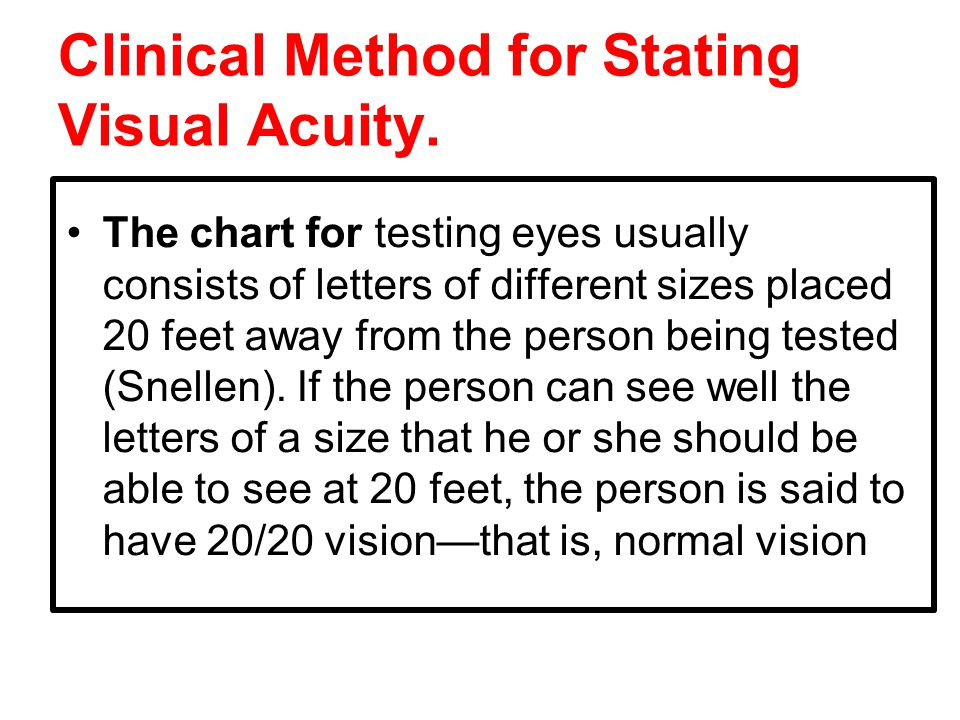 Clinical Method for Stating Visual Acuity.