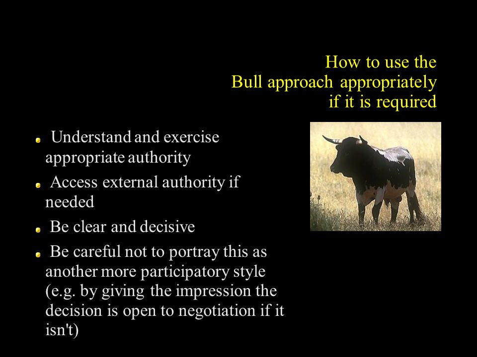 How to use the Bull approach appropriately if it is required