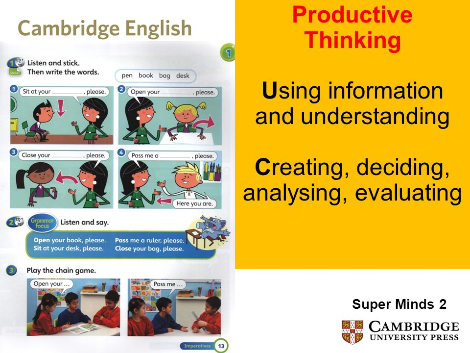 Productive Thinking Using information and understanding Creating, deciding, analysing, evaluating