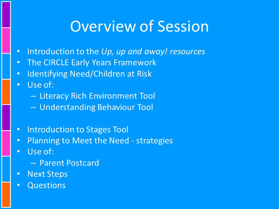 Overview of Session Introduction to the Up, up and away! resources