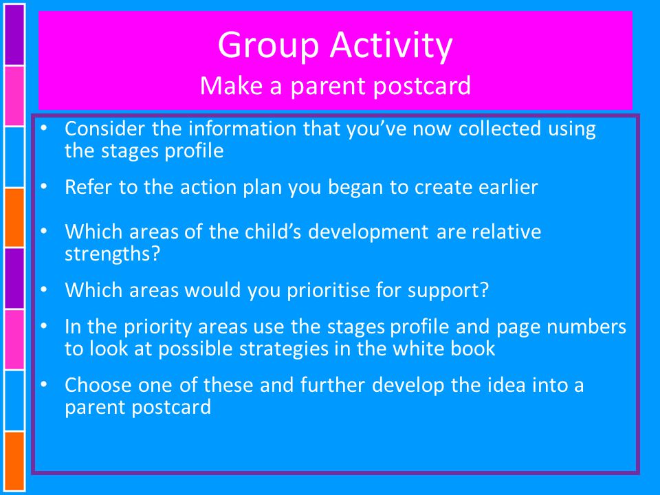 Group Activity Make a parent postcard