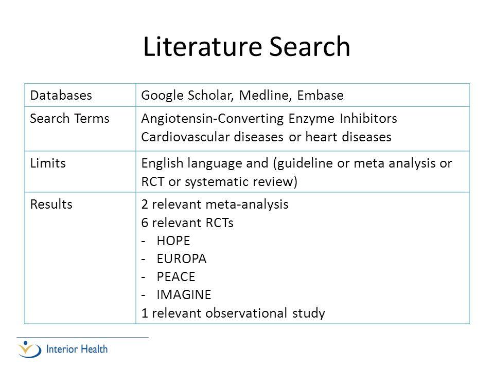 Literature Search Databases Google Scholar, Medline, Embase