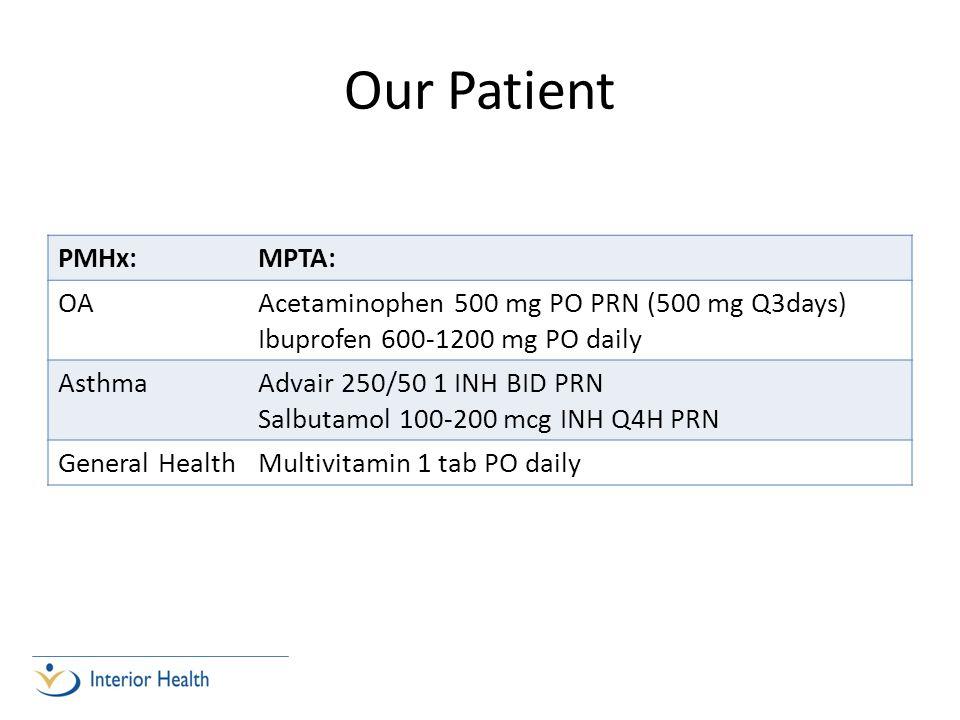 Our Patient PMHx: MPTA: OA Acetaminophen 500 mg PO PRN (500 mg Q3days)