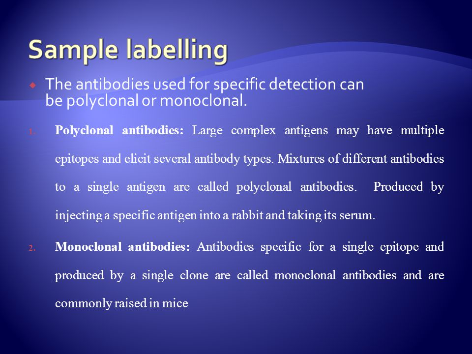 Sample labelling The antibodies used for specific detection can be polyclonal or monoclonal.