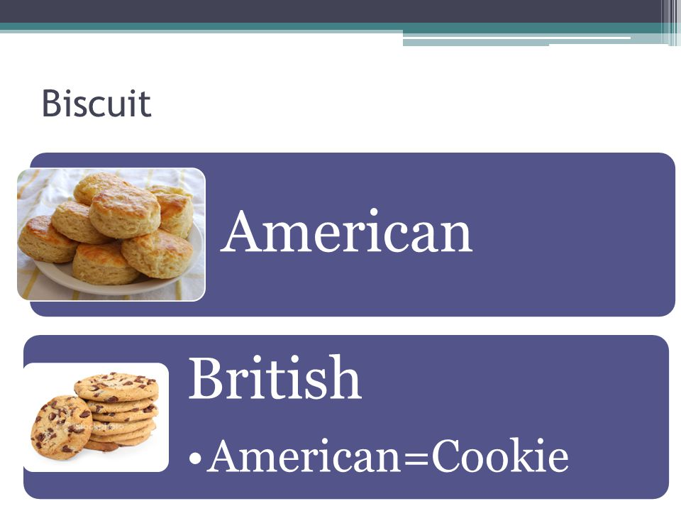 Biscuit American British American=Cookie