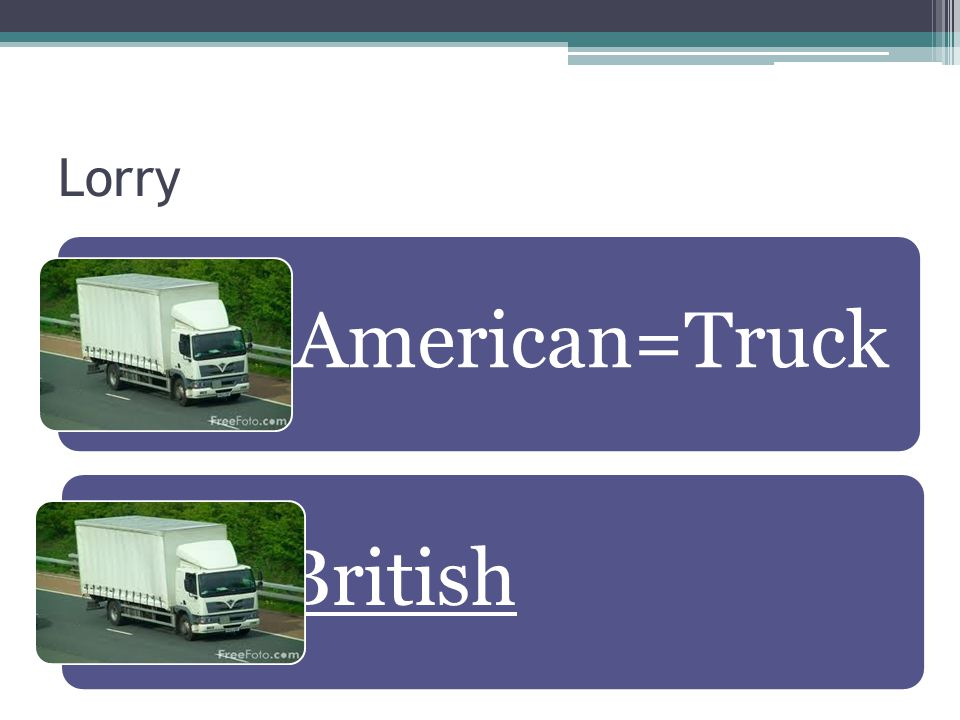 Lorry American=Truck British