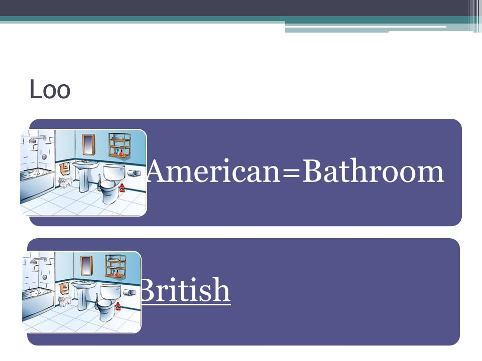 Loo American=Bathroom British