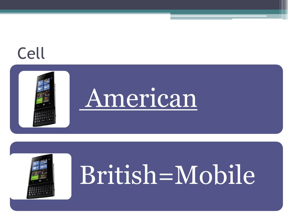 Cell American British=Mobile
