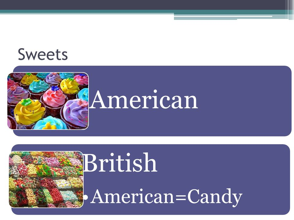 Sweets American British American=Candy