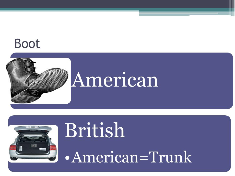 Boot American British American=Trunk