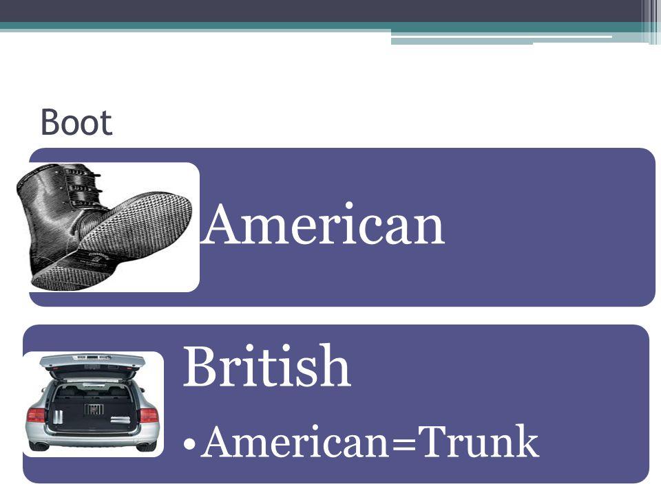 Boot American British American=Trunk