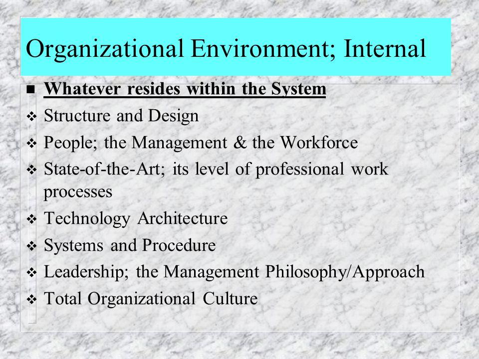Organizational Environment; Internal