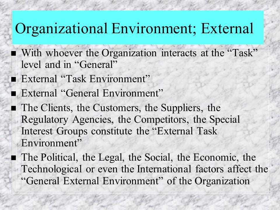 Organizational Environment; External