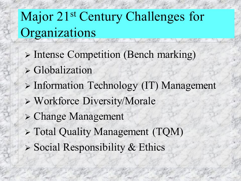 Major 21st Century Challenges for Organizations