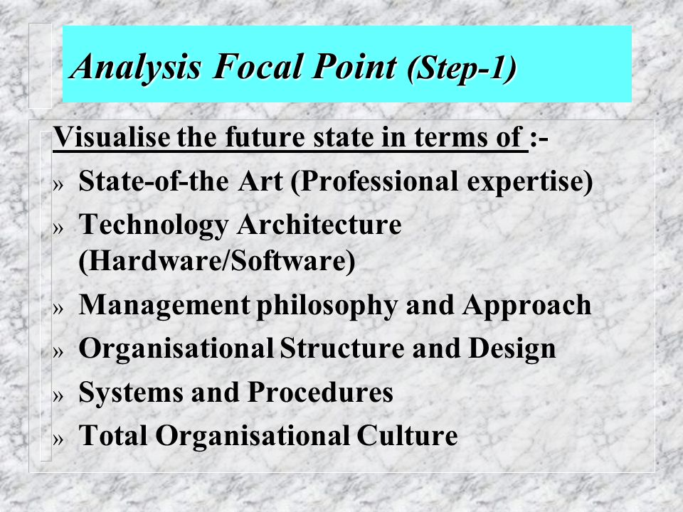 Analysis Focal Point (Step-1)