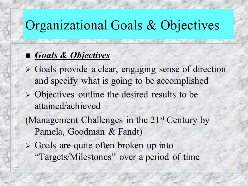 Organizational Goals & Objectives