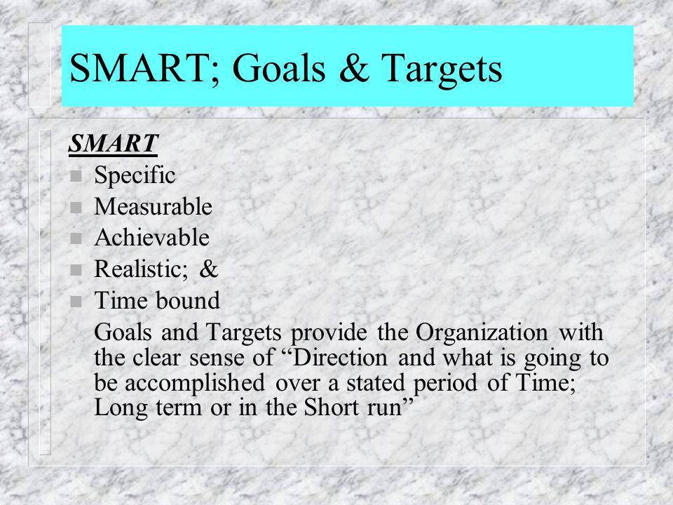 SMART; Goals & Targets SMART Specific Measurable Achievable