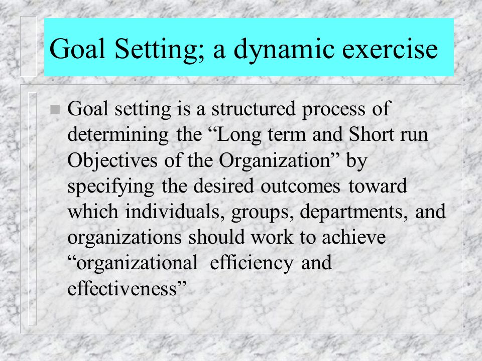 Goal Setting; a dynamic exercise