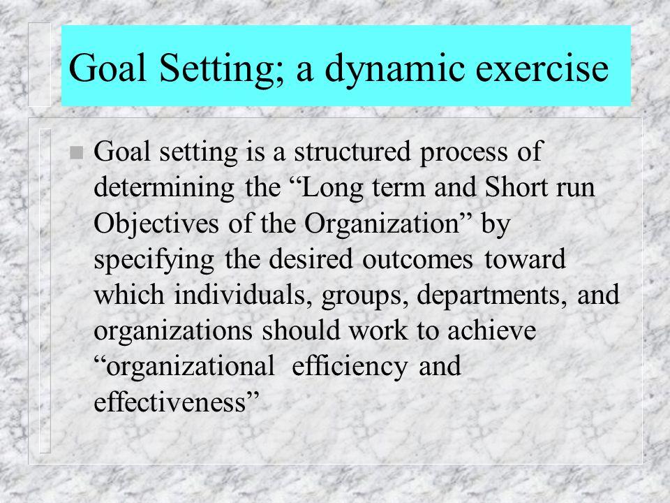 Goal Setting; a dynamic exercise